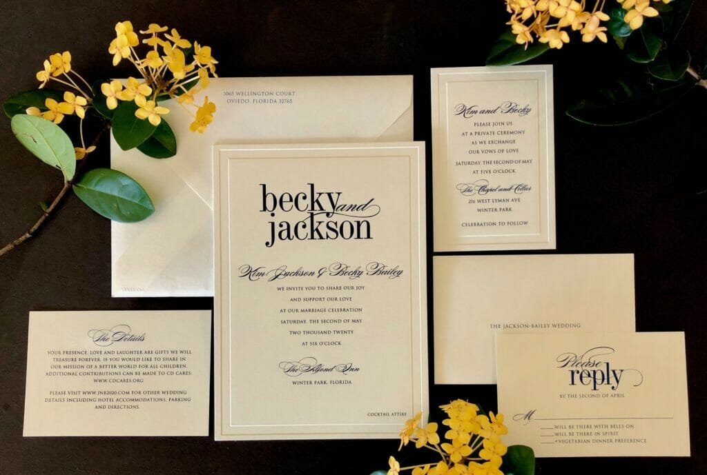 Classically simple wedding invitation with matching RSVP card, wedding site card and envelopes