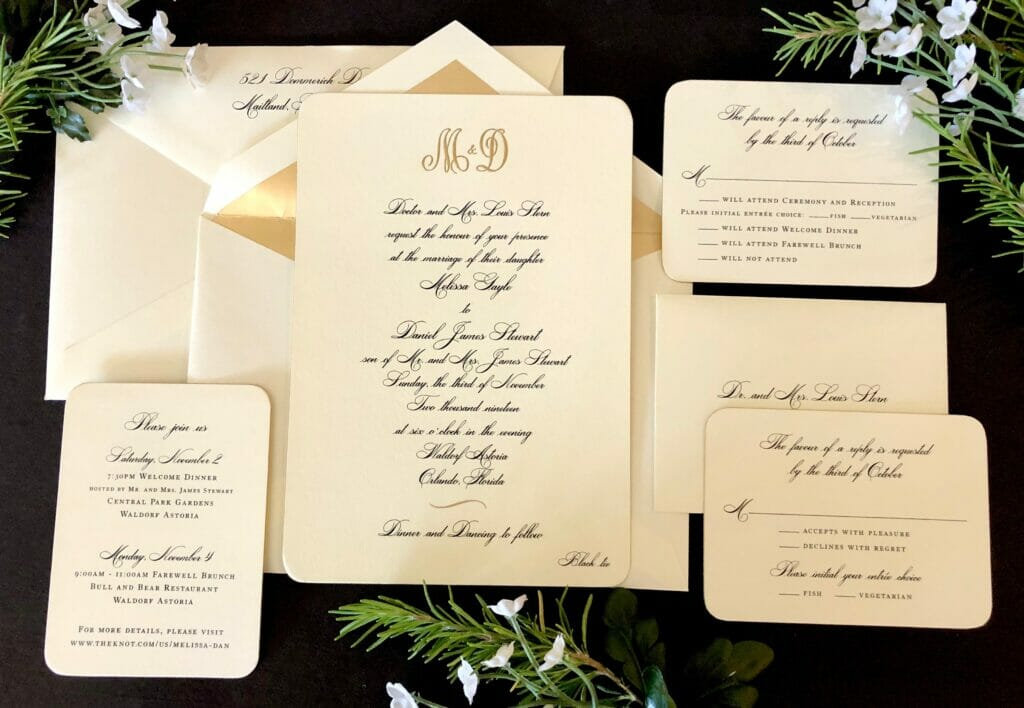 Matching wedding invitation, RSVP cards, event list, and envelope with gold liner
