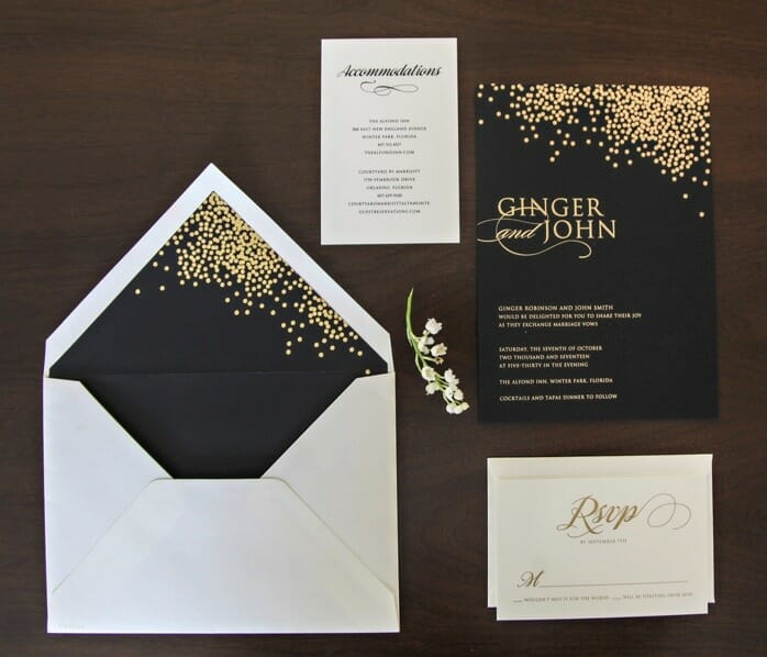 Wedding invitation on black card stock with small gold dots at top right, RSVP card, accommodations list and envelope with gold-dotted black liner