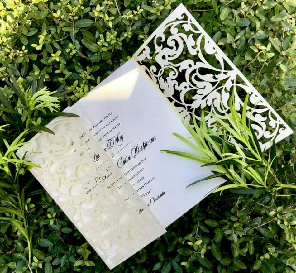Elegant wedding invitation with die cut cover