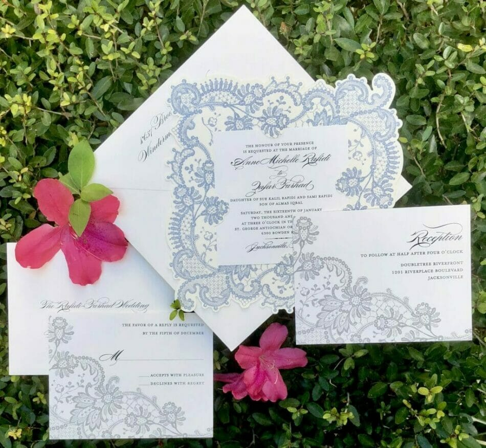 Whimsical wedding invitation with specialty die cut stock and whimsical gray toned border and matching reception notice and reply card