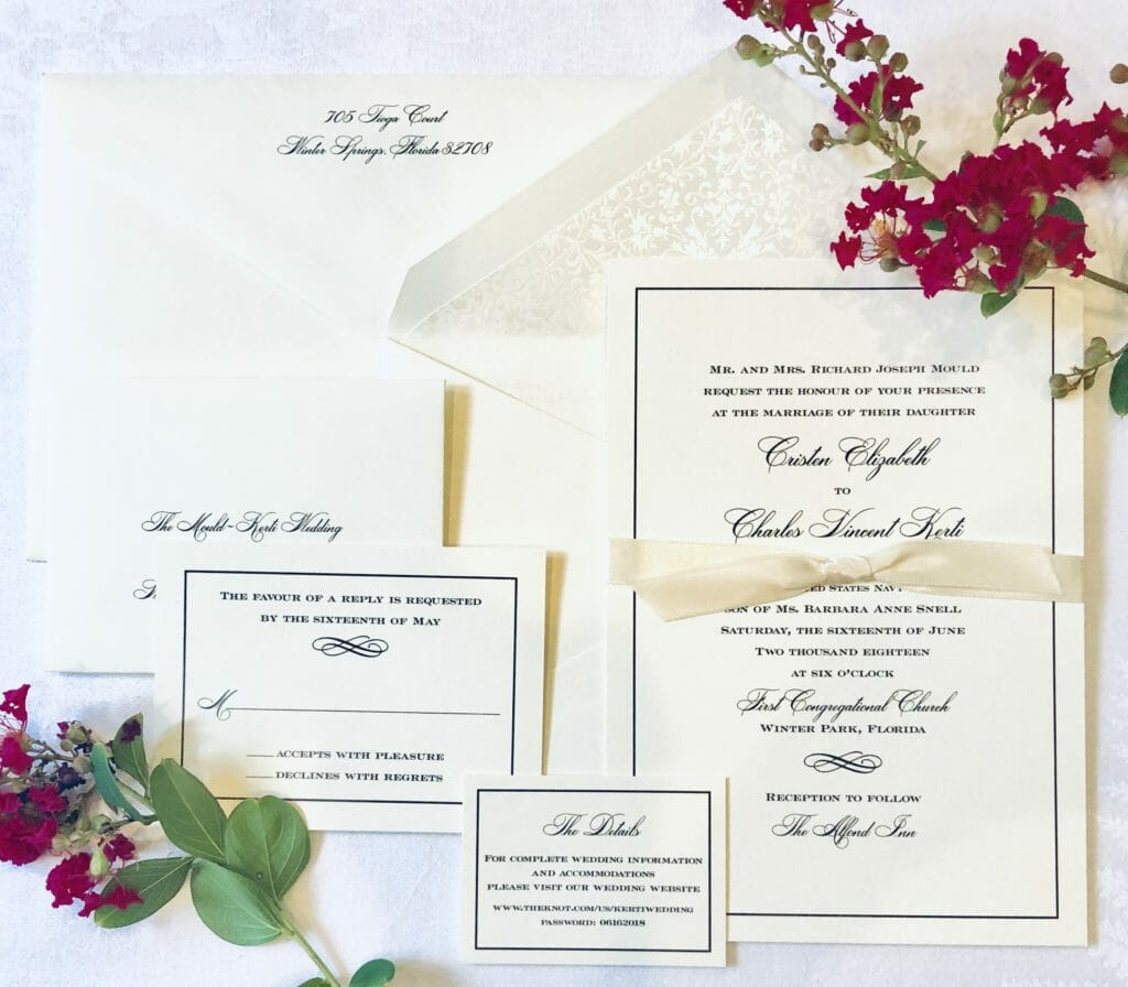 Matching wedding invitation, RSVP card, reception card, wedding site card and envelope