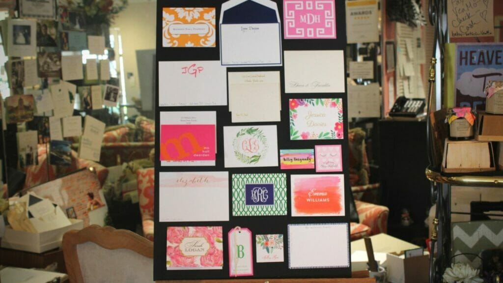 Peg board with assortment of stationery inside Maureen Hall Stationery