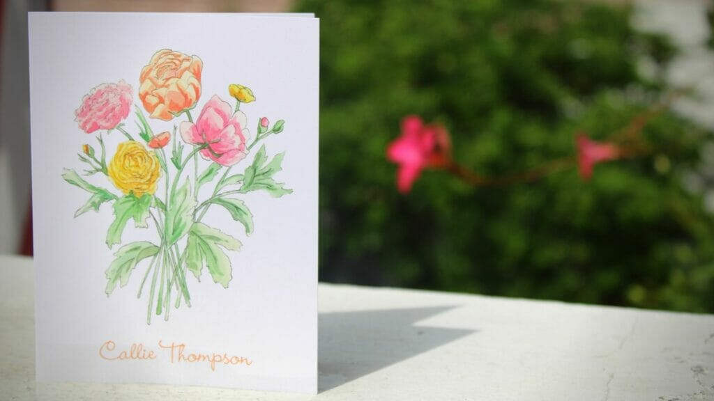 Beautiful personalized stationery with pastel floral bouquet on front