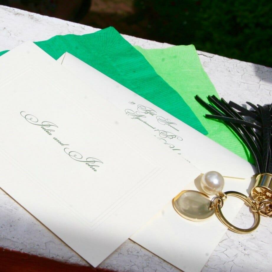 Beautiful script font on white envelopes