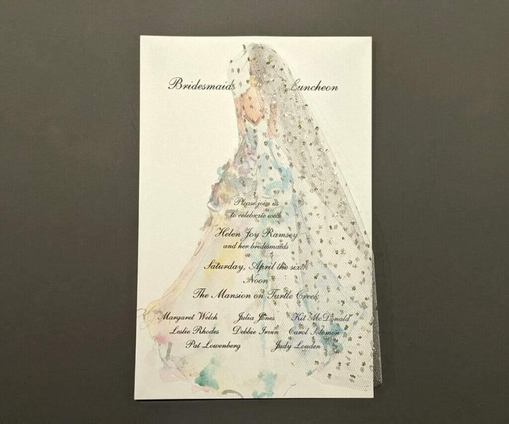 Bridesmaids Luncheon Invitation with a watercolor picture of a bride in a long veil as the background