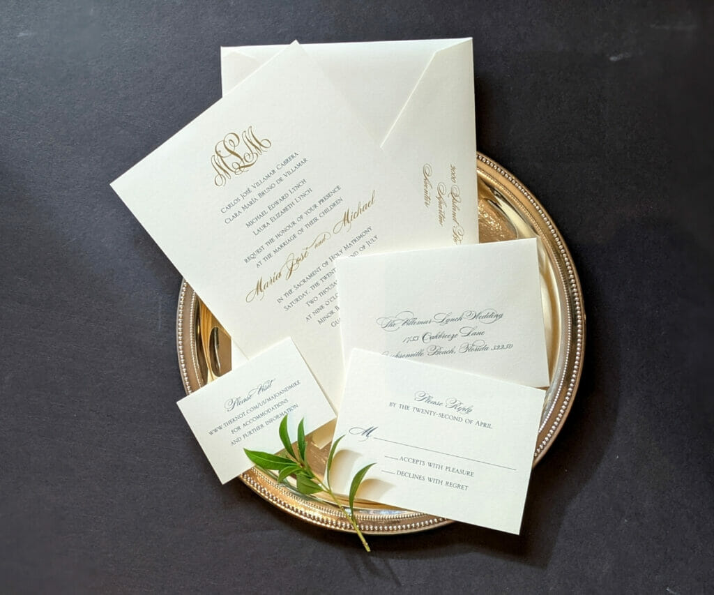Classic, simple wedding invitation, RSVP card, wedding site card and envelopes on cream colored cardstock