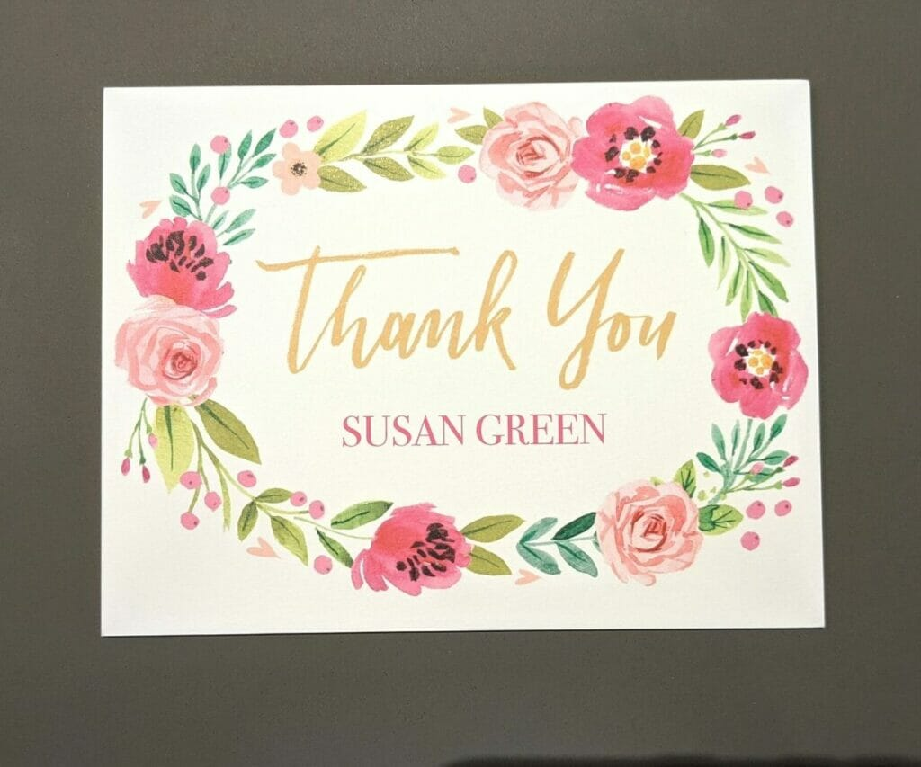 Personalized thank you note with vibrant floral border