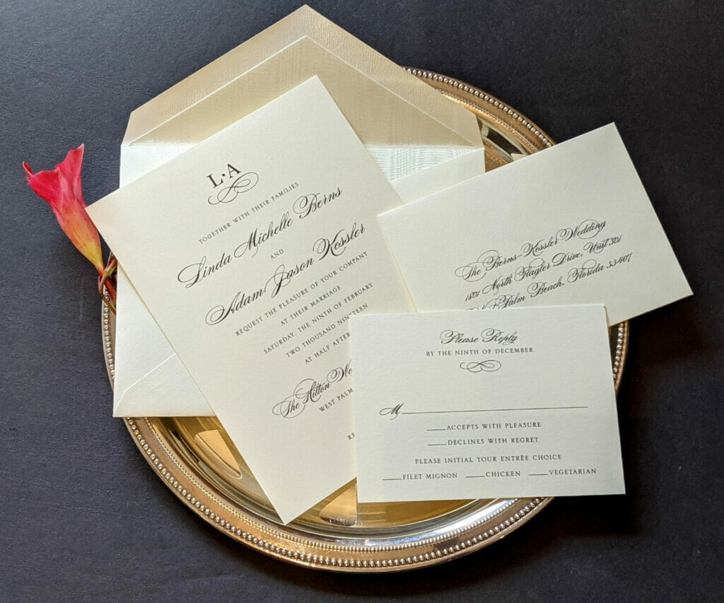 Classic, simple wedding invitation, RSVP card and envelopes on cream colored cardstock