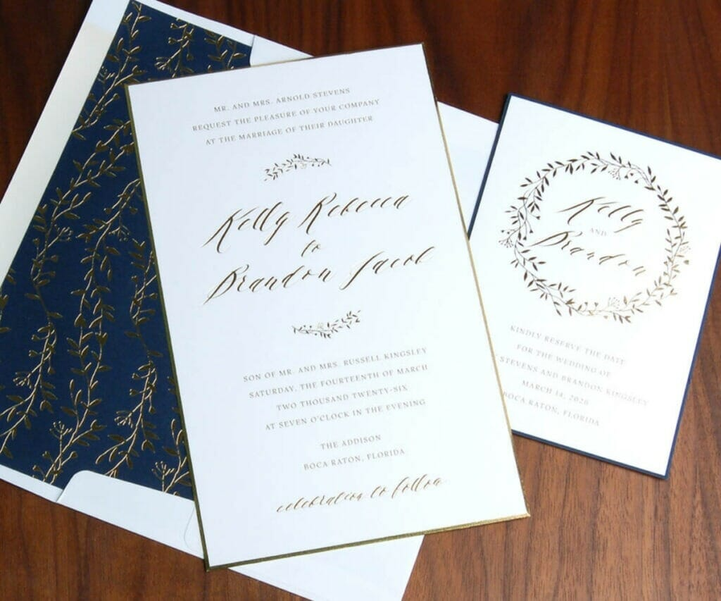 Simple wedding invitation, save the date card, and matching envelope in vine motif