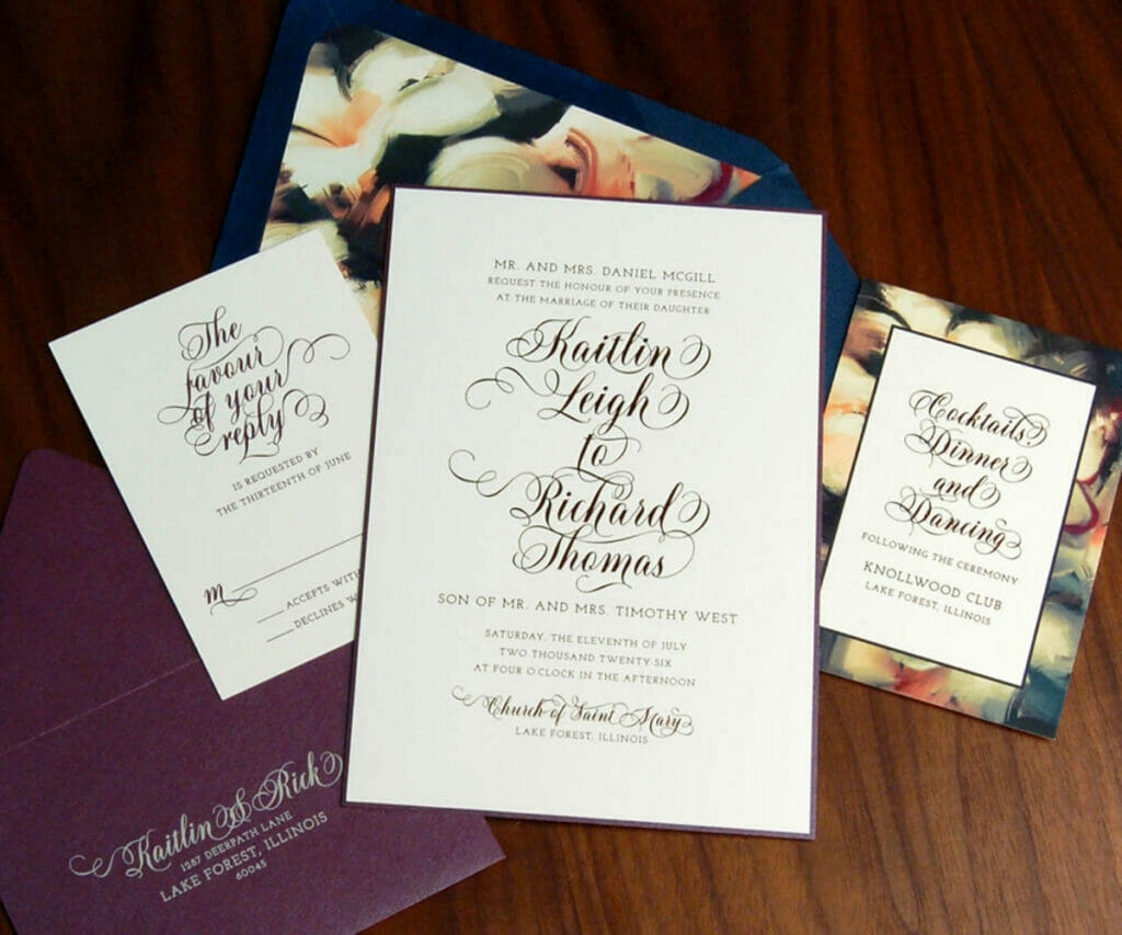 Wedding invitation in bold navy blue and cream floral theme with matching RSVP card, reception invitation and envelopes