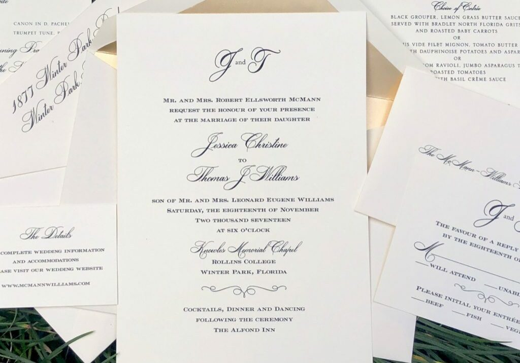 Classically simple wedding invitation with matching RSVP card, wedding site card and envelopes with champagne liner