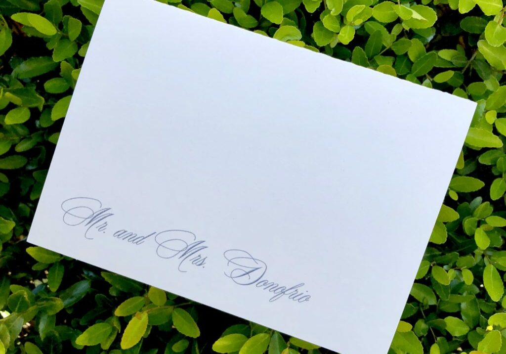 Simple, clean personalized stationery on white card stock